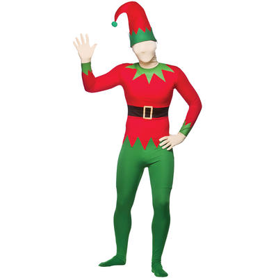Christmas Xmas Festive Elf Skinz Skin Tight Fancy Dress Costume