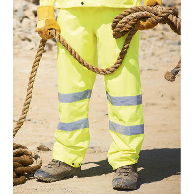 Mens Yellow High Visibility Waterproof Over Trousers From Regatta