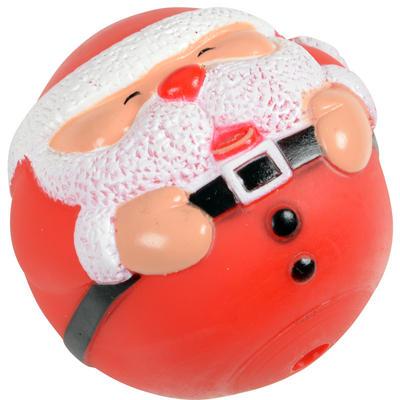 Dog Toy - 8cm Christmas Festive Santa Pet Dog Toy Ball With Internal Squeak NEW