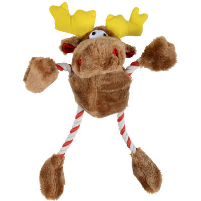 Pet Dog Toy - Plush Reindeer Christmas Dog Rope Toy With Internal Squeak NEW