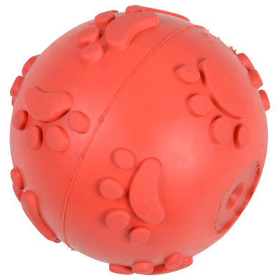 Dog Toy - Pet Dog / Puppy Red 7cm Rubber Ball With Internal Squeak - Brand New