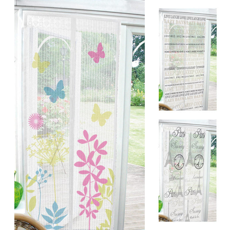 Printed magnetic insect door screen curtain home bug fly for Insect door screen