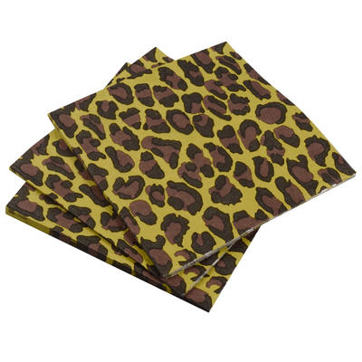 20 Pack Of Leopard Print Square Disposable Party Paper Napkins