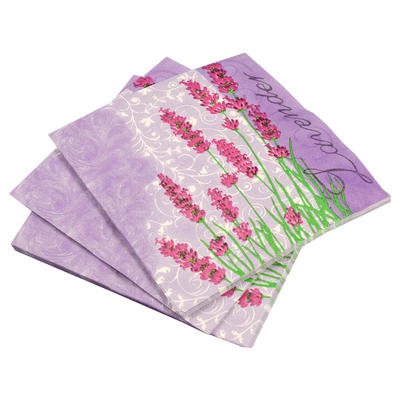 20 Pack Of Lavender Floral Square Disposable Party Paper Napkins