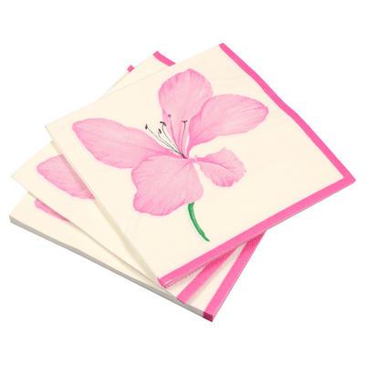 20 Pack Of Lily Floral Square Disposable Party Paper Napkins Serviettes