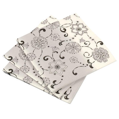 20 Pack Of Black & White Floral Square Disposable Party Paper Napkins