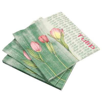 20 Pack Of Green Tulip Floral Square Disposable Party Paper Napkins
