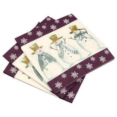 20 Pack Of Purple/ Snowman Square Christmas Xmas Party Paper Napkins