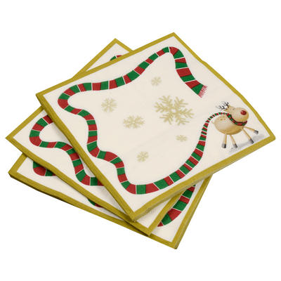 20 Pack Of Rudolf Reindeer/ Gold Border Christmas Party Paper Napkins