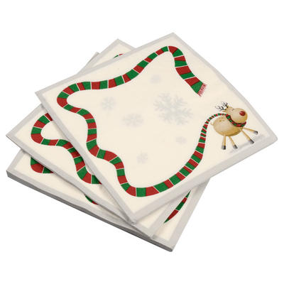 20 Pack Of Rudolf Reindeer/ Silver Border Christmas Paper Napkins