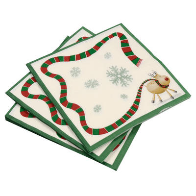 20 Pack Of Rudolf Reindeer/ Green Border Christmas Paper Napkins