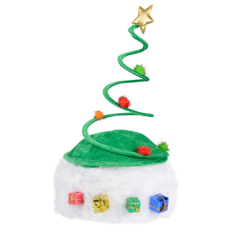 Green spring christmas xmas festive novelty hat with shiny