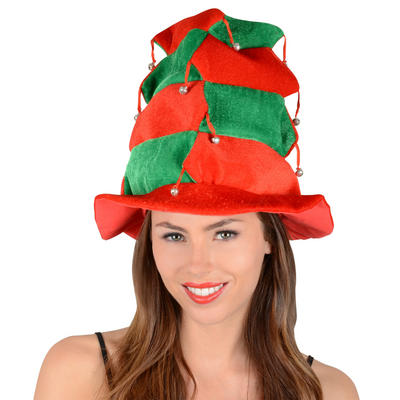 Red & Green Tiered Christmas Xmas Festive Novelty Hat With Bells