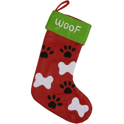 Christmas Felt Pet Stocking With Bones & Paw Prints Design