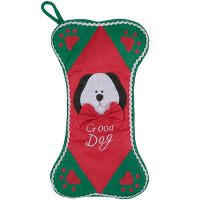 "Christmas Felt Pet Bone Shaped Stocking With Dog Face Bow Paws & ""Good Dog"""