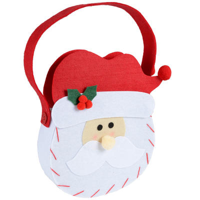 Christmas Santa Claus Head Felt Gift Hand Bag Decoration
