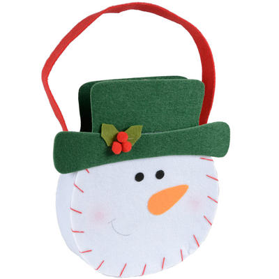 Christmas Snowman Head Felt Gift Hand Bag Decoration