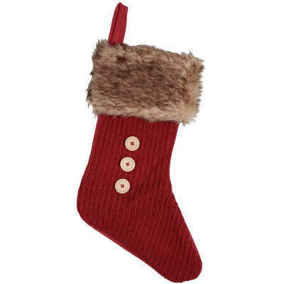 Christmas Stocking Decoration Red Felt With Knitted Front Faux Fur Trim & Buttons