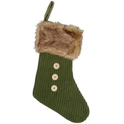 Christmas Stocking Decoration Green Felt With Knitted Front Faux Fur Trim & Buttons
