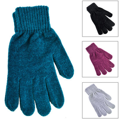 Ladies Chenille Magic Stretch Gloves Black Bery Pink Grey Teal Blue