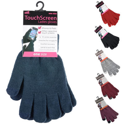 Ladies Stretch Touch Screen Gloves Black Grey Burgundy Red Navy Or Mauve
