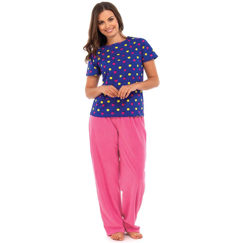 Ladies Pyjama Gift Set With Long Fleece Trousers & T-Shirt ...