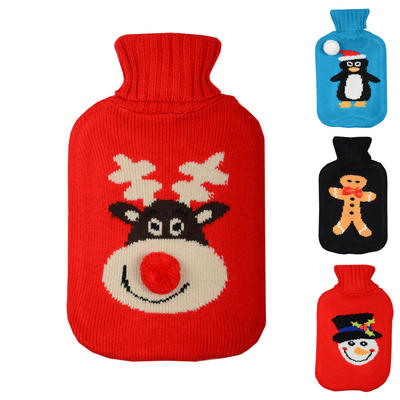 Large Hot Water Bottle With Knitted Xmas Cover