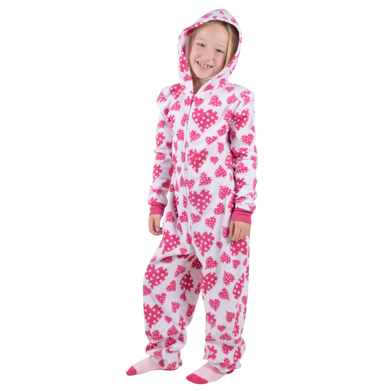 Girls Hooded Fleece All In One Piece Pyjamas Jump Sleep ...