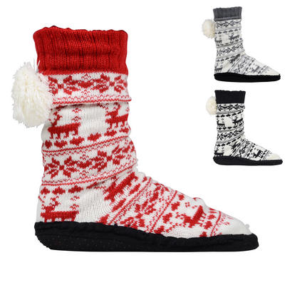 Fleece Lined Booties With Pompom & Non-Slip Grips Winter Warmers One Size New