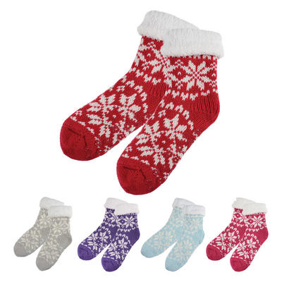 Womens Knitted Cosy Slipper Socks Sherpa Lining Non-Slip Sole