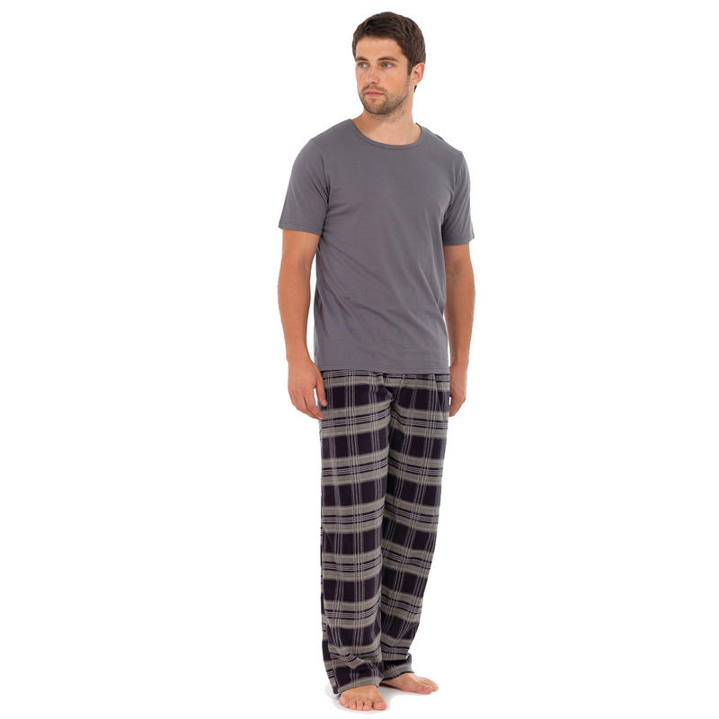 Whether it's a comfortable pair of lounge pants featuring the logo of your favorite sports team or a plush robe for a little extra warmth, men's pajamas help you fall asleep your way. Looking for an instant upgrade to your nighttime wardrobe? Choose a pajama set that features a matching top and bottoms in striped, checkered or solid-colored designs.