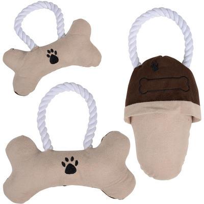 Dog Pet Toy - Suede Rope Toy With Inner Squeak Small Bone Medium Bone Slipper