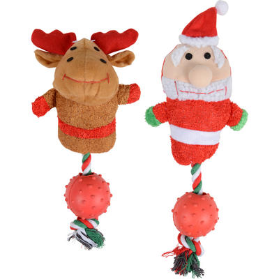 Christmas Dog Pet Toy With Rope, Rubber Ball, Internal Squeak Santa or Reindeer