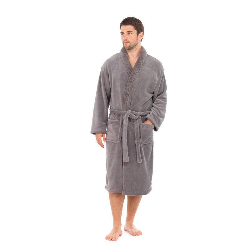 New Mens Sherpa Robe Bath House Coat Night Wear Soft