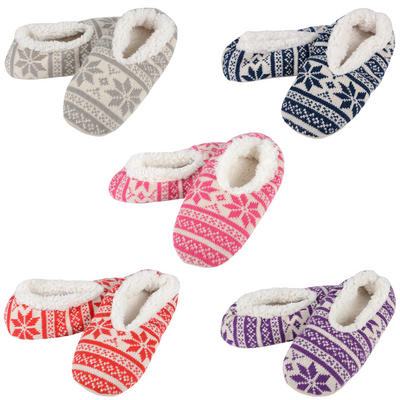 Ladies Fairisle Snugg Slippers With Supersoft Sherpa Lining Blue