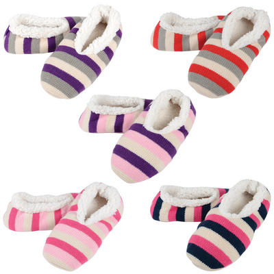 Ladies Fairisle Striped Slippers With Sherpa Lining