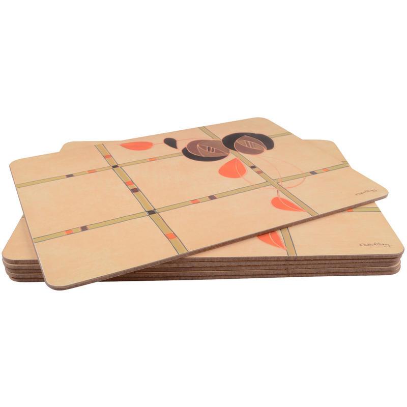 Chocolate Rose Design Matching Set Of 6 Placemats Amp 6