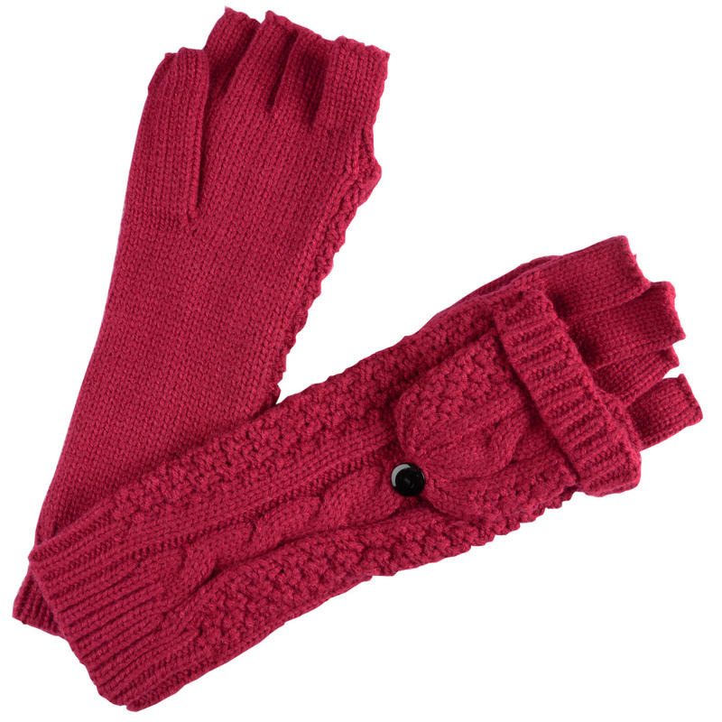 Ladies Mittens Knitting Pattern : Ladies Brandy Fingerless Gloves With Mittens Cap Cable Knit