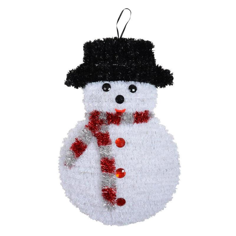 Tinsel snowman festive christmas decoration new for Christmas snowman decorations