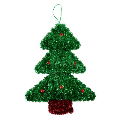 Small Tinsel Christmas Tree Festive Decoration New