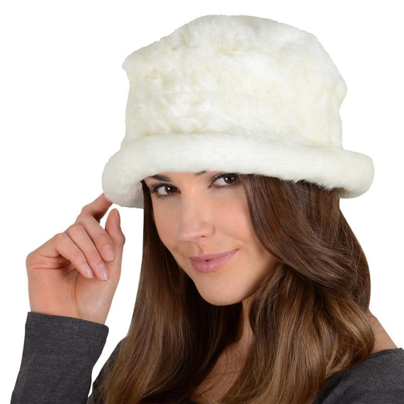 ladies alexis white faux fur russian style hat