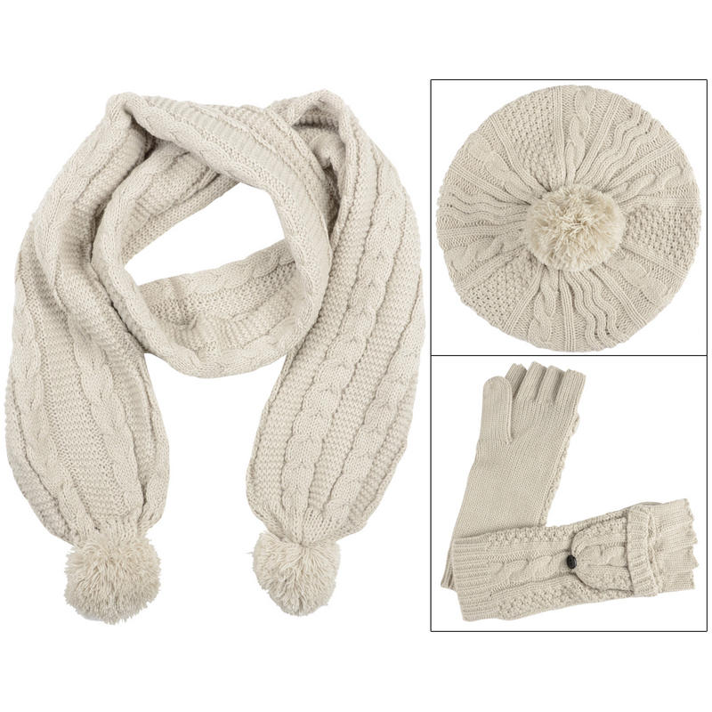 cable knit winter accessory set hat scarf