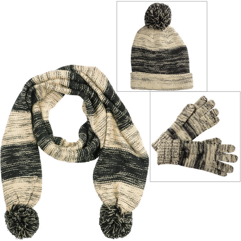 Ladies Drew Marble Knit Winter Accessory Set - Hat Scarf ...