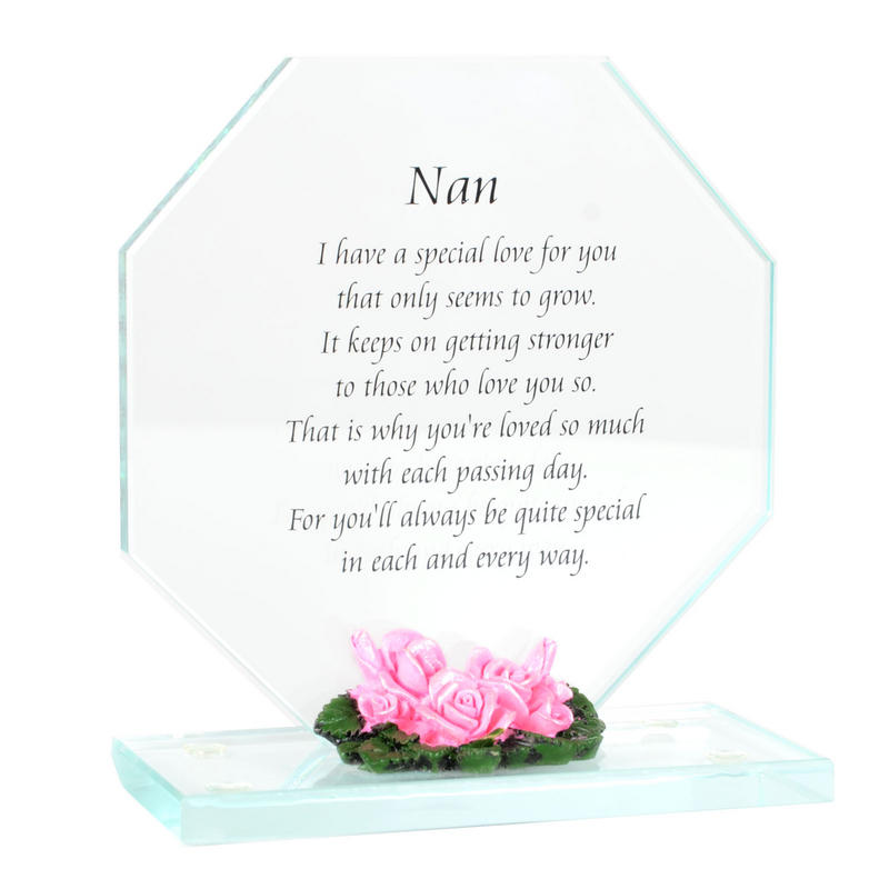 Glass Plaque Gift With Flowers For Nan Sister Or Daughter
