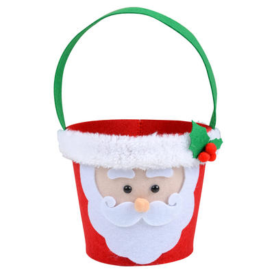 Christmas Santa Head Felt Gift Bag Bucket Decoration Accessory