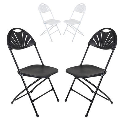 Set Of 2 Folding Chairs With Sunrise Backrest For Indoor / Outdoor Use