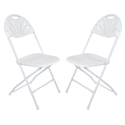 Set Of 2 White Folding Sunrise Chairs Extra Seating For Christmas Xmas Dinner