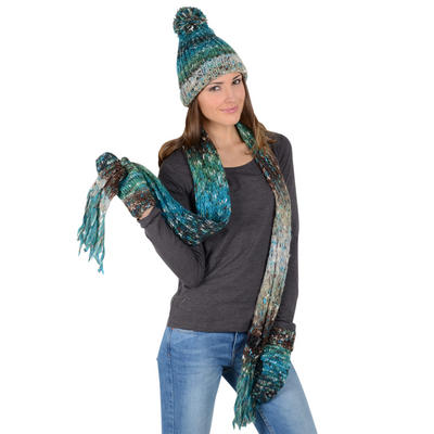Zaylie Design Winter Accessory Blue & Green Multi Speckled Design