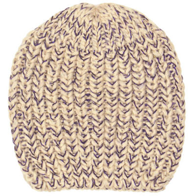 Ladies Sienna Chunky Knit Beanie Hat Almond Beige With Sapphire Blue Glitter Thread