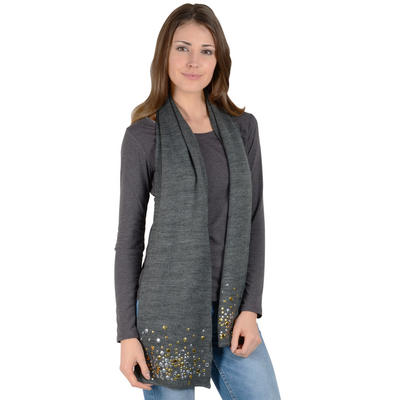 Ladies Scarlett Knitted Scarf With Stud Design Charcoal Grey